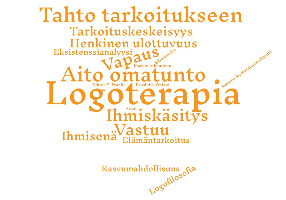 Logoterapian opinnot Paasikivi-Opistolla. Kuvassa on logoterapiaan liittyviä termejä, jotka ovat samoja kuin sivun tekstissä.